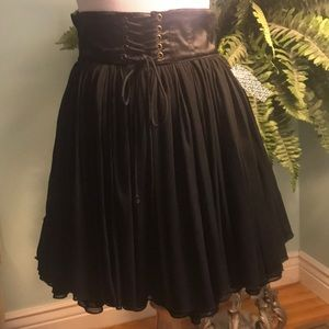Lace up Flare mini tiered black skirt size 4